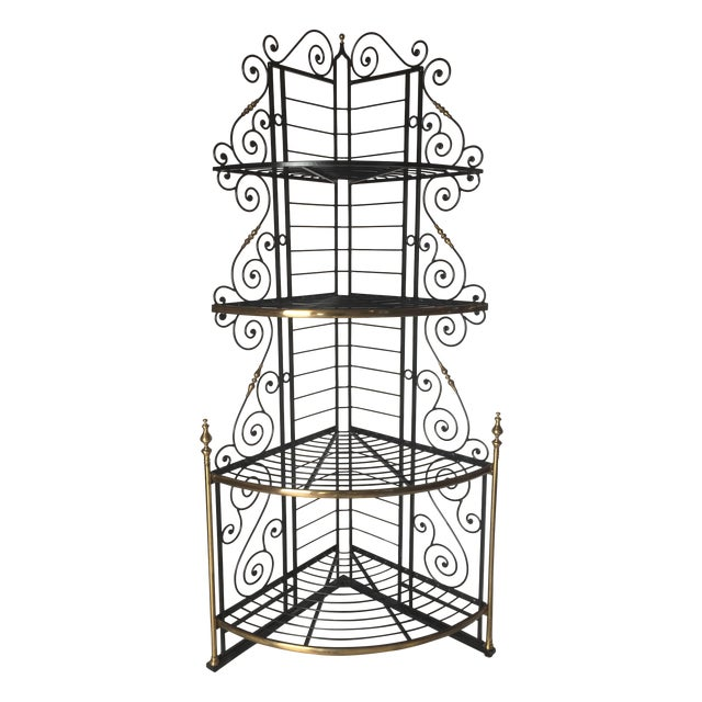 Vintage French Brass And Iron Corner Baker's Rack - Image 1 of 8