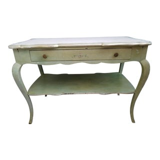 Vintage Hand Painted Light Green and Silver Gilt Marble Top Table