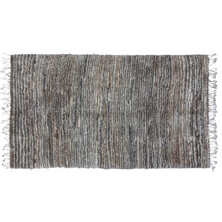 Vintage Gray & Brown Moroccan Rug - 8'8'' X 5'