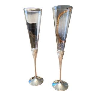 Vera Wang Silver Toasting Flutes - A Pair
