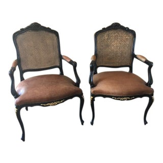 Ebonized & Caned Armchairs - a Pair