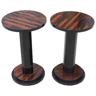 French Art Deco Macassar Ebony End Tables - Pair