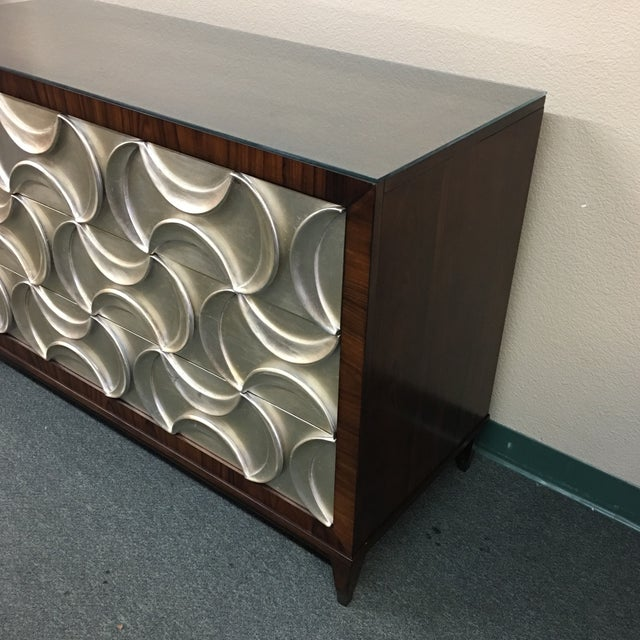 Caracole Rosewood & Silver Tie One On Three Drawer Chest - Image 3 of 11