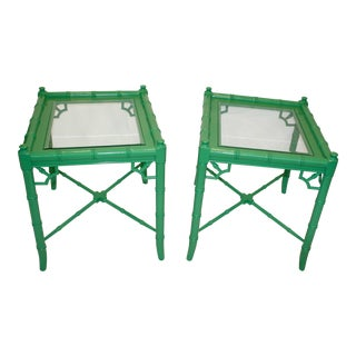 Lacquered Faux Bamboo Glass Top Side Tables - A Pair