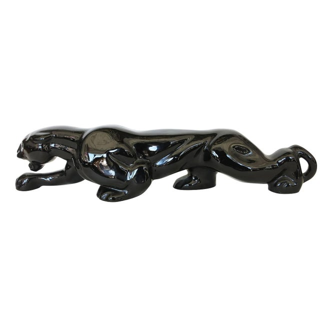 Image of Mid-Century Black Panther Art Pottery Lamp