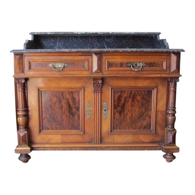 Antique french marble top sink vanity chairish for Antique stone sinks for sale