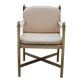 Mid-Century Brass Tan Chair