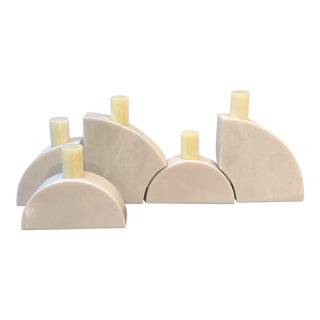 White Marble Candle Holders - Set of 5