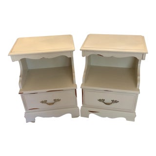 Cottage White Mid-Century Modern Nightstands - A Pair