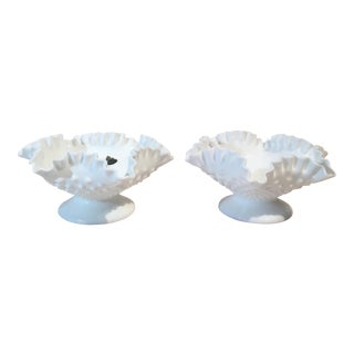 Fenton Double Crimped Footed Vases - A Pair