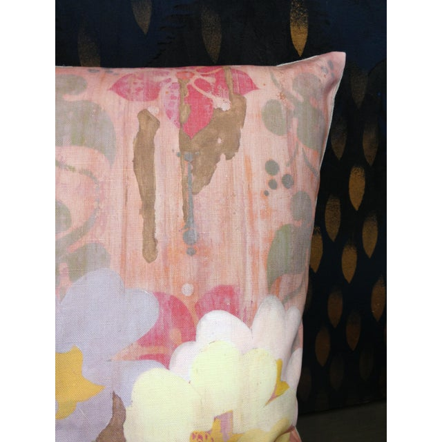 Image of Faded Floral Pink Linen Pillow