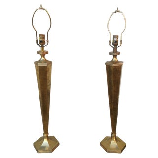 Chapman Vintage 1970s Tall Brass Lamps - a Pair