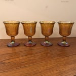 Image of Antique Carnival Glass Pitcher & Glasses - Set of 5