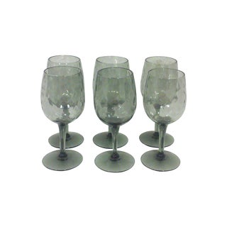 Empoli Italian Smoked Glass Cordial Stemware - Set of 6