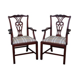 Baker Chippendale Style Mahogany Armchairs - A Pair