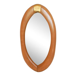 Almond Shape Mirror With Gold Accent
