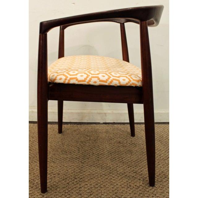 Danish Modern Geometric Pattern Round Teak Arm Chair