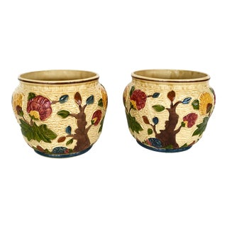 English Majolica Planters - Pair