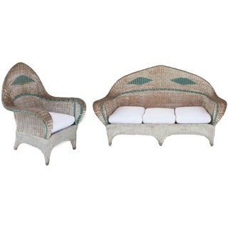 Wicker Sofa & Chair - A Pair