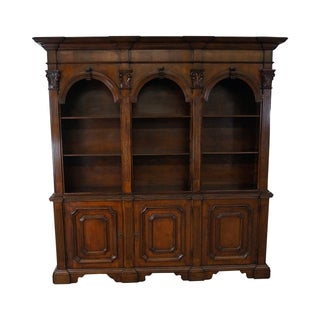 Italian Walnut Architectural Bookcase With Columns