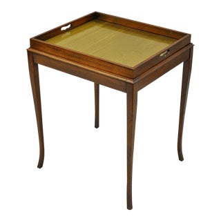 Brandt Mahogany Wood Inlaid Brass Flip Lift Out Tray Chess Checkers Game Table