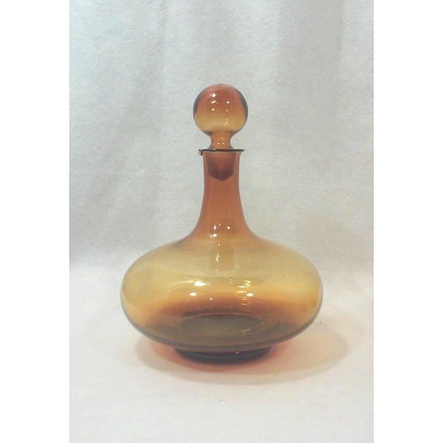 Image of Italian Amber Glass Decanter Set