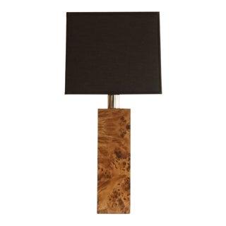 1970's Milo Baughman Style Burl Wood Table Lamp