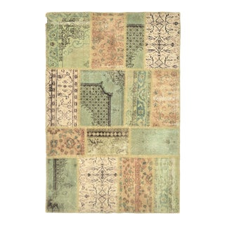 "Turkish Over-Dyed Distressed Patchwork Area Rug - 3'11"" X 5'11"""