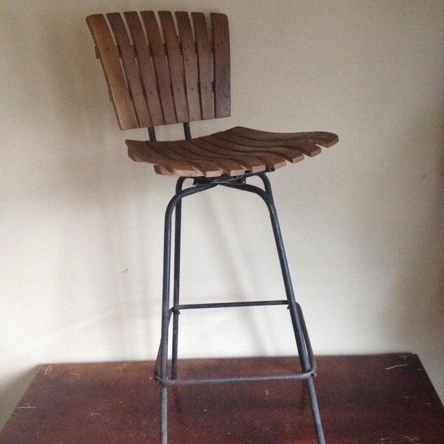 Image of Mid Century Umanoff Style Wooden Slat Stool