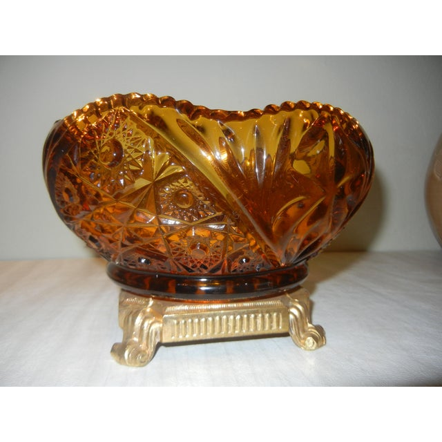 Antique amber cut glass centerpiece bowl chairish