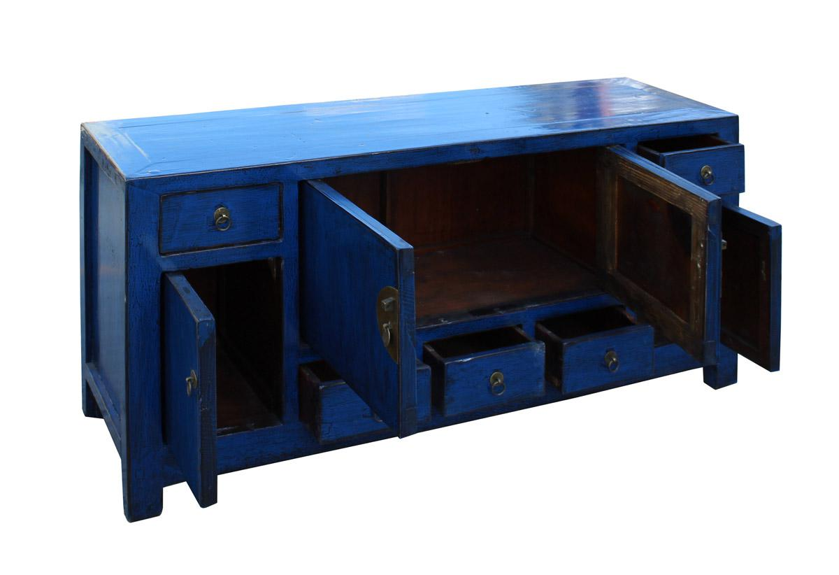Chinese Indigo Blue Low TV Console Table Cabinet   Image 5 Of 7