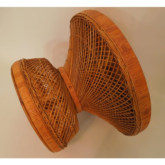 1970s French Woven Reed Rattan Coffee Table - Image 7 of 9