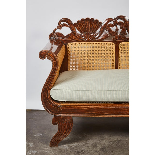 Indonesian Mahogany Settee with Carved Rattan/Wicker Back and Seat - Image 2 of 9