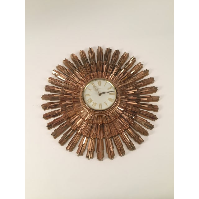Mid-Century Syroco Sunburst Wall Clock - Image 10 of 11