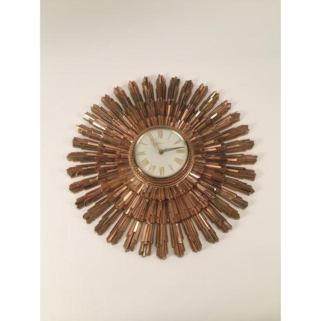 Image of Mid-Century Syroco Sunburst Wall Clock