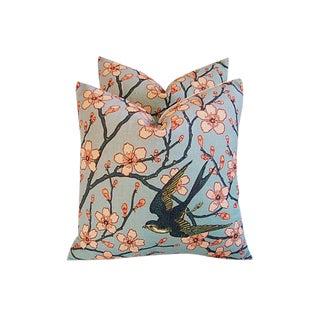 "20"" Custom Magnolia Blossoms & Swallow Bird Feather/Down Pillows - Pair"