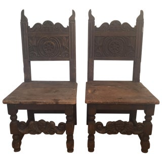 Spanish Revival Carved Wood Throne Chairs- A Pair