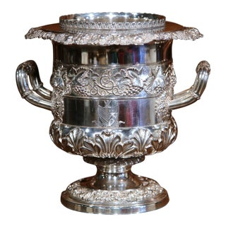Early 20th Century English Silver Plated Wine Cooler with Engraved Coat of Arms