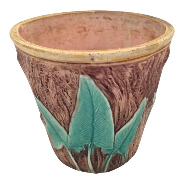 Image of Antique English Majolica Cachepot