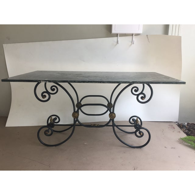 French Iron Marble Topped Table - Image 2 of 9