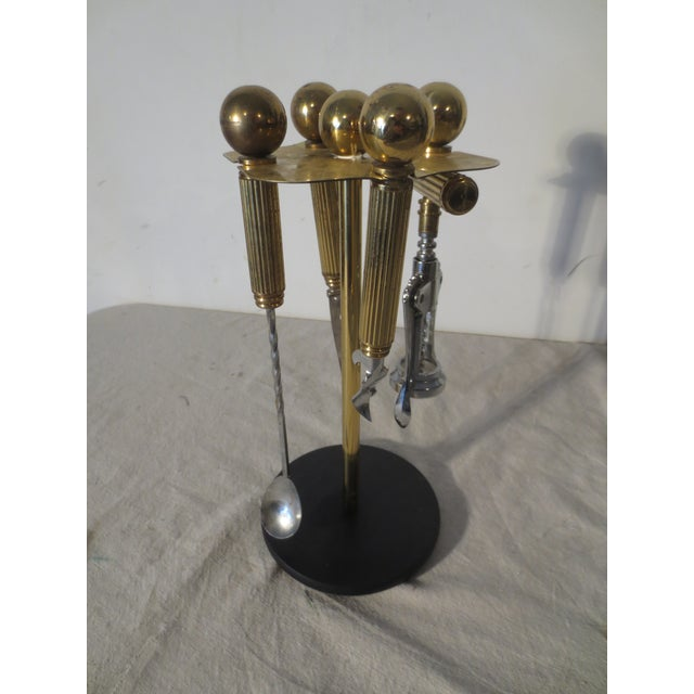 70s Brass Bar Tool Stand With Tools - Image 2 of 5