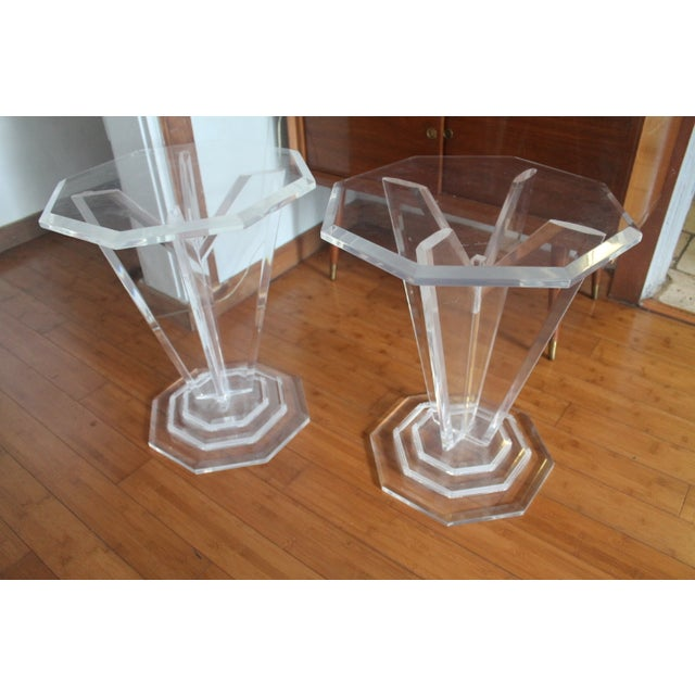 Image of Vintage Octagonal MCM Lucite Side Tables - Pair