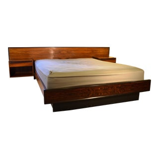 Westnofa Rosewood Platform Bed & Floating Nightstands