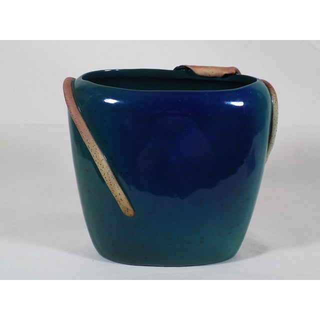Studio Art Pottery Vase Green Blue Applied Water Lily Hand Thrown - Image 4 of 6