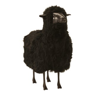 Lalanne Bronze Black Sheep With Real Fur
