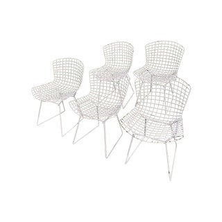 Harry Bertoia Knoll White Wire Chairs - Set of 5