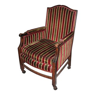 Rolling French Chair in Velour Stripe