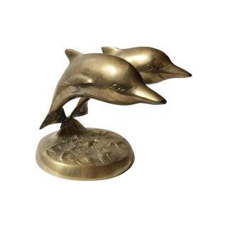 Vintage Brass Dolphins Sculpture