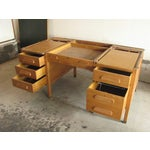 Image of Large Oak Desk With Dark Green Leather Top