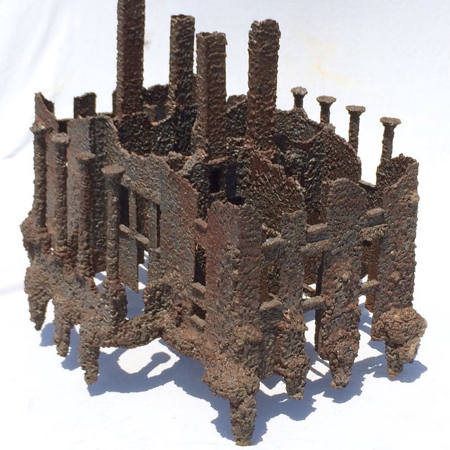 Iron Torch-Cut Brutalist Sculpture Coffee Table - Image 2 of 9